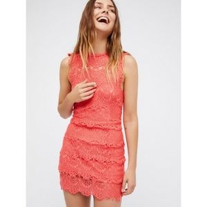 Free People - NWT Daydream Coral lace dress - L